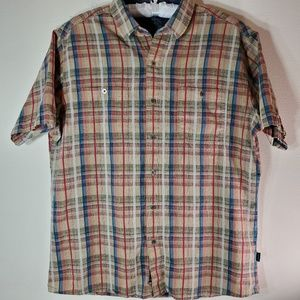 KUHL Plaid linen/cotton blend button down shirt L